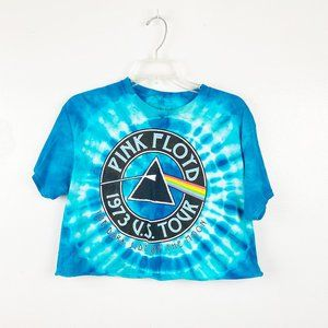 Pink Floyd | Blue Tie Dye Crop Top Graphic Tee